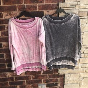 2 Marbled Tops Pink Gray Clingy Athletic Wm L